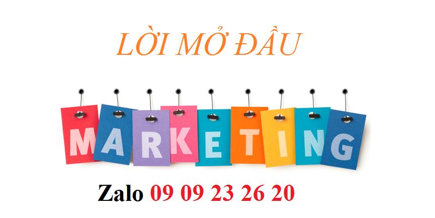 Lời mở đầu đề tài hoạt động marketing mix