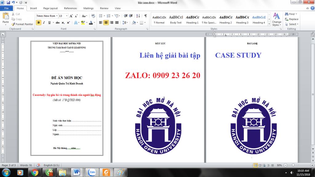 Giải bài tập đề án CASE STUDY giá rể
